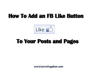 How to add an fb like button