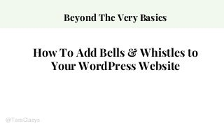 How to add bells and whistles to your WordPress website