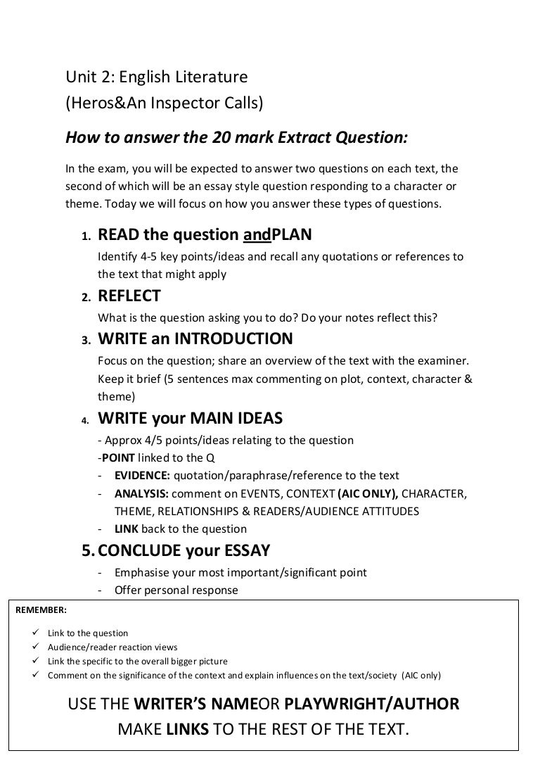 how to answer the 20 mark essay question