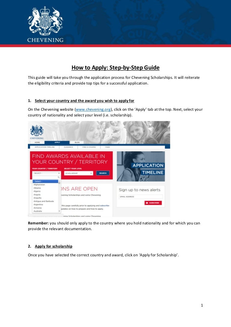 Chevening Scholarship How To Apply Step By Step Guide