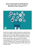 How to Automate Social Media for WordPress Sites Using IFTTT?
