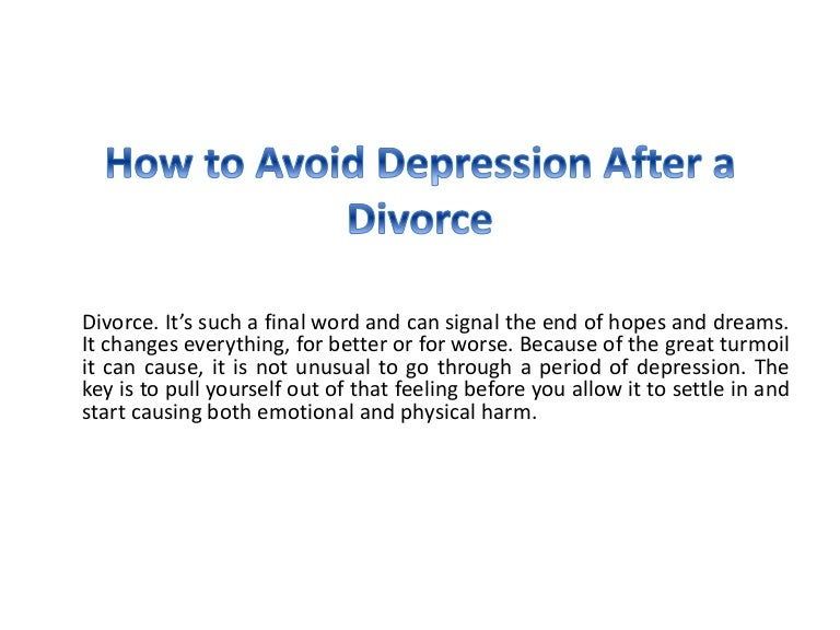 How long does depression last after divorce