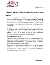 How to balance machine performance and value