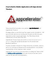 How to Build a Mobile Application with Appcelerator Titanium