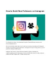 How to build real followers on Instagram