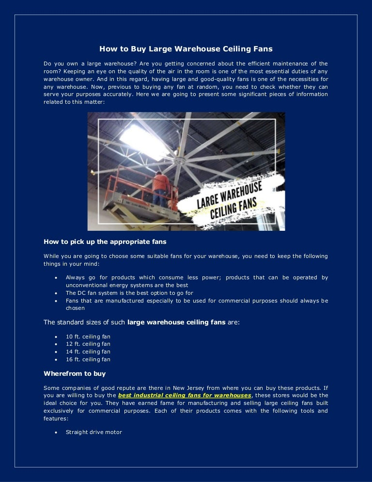 How To Buy Large Warehouse Ceiling Fans