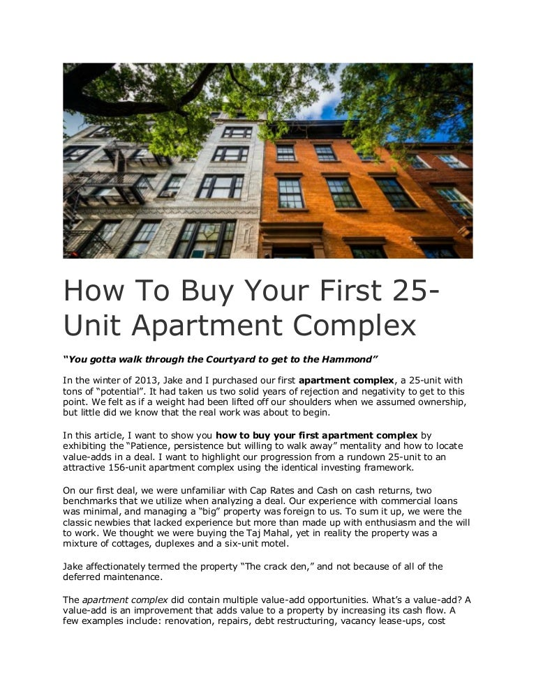 How To Buy Your First 25-Unit Apartment Complex