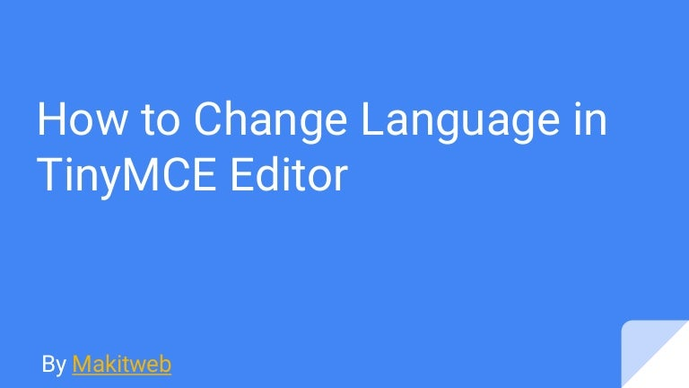 How to Change Language in TinyMCE Editor