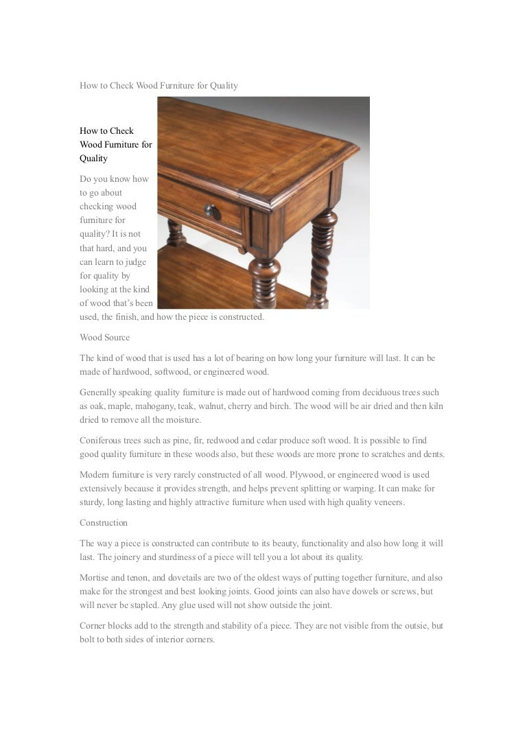 How to check wood furniture for quality 15 11 2012
