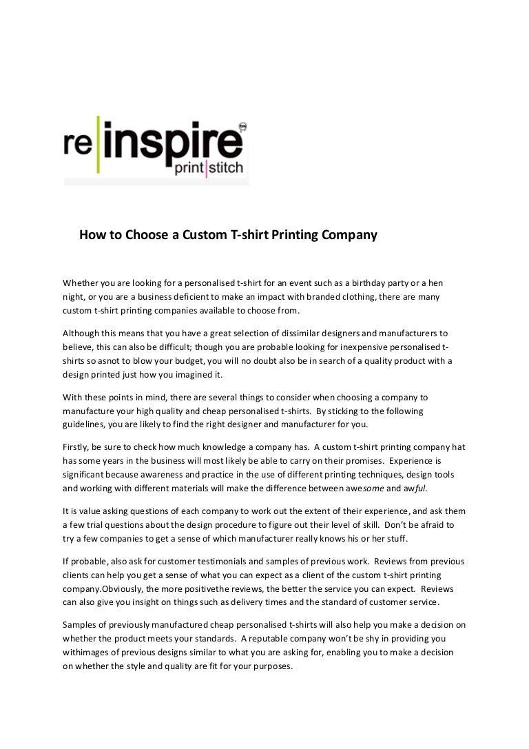 How To Choose A Custom T Shirt Printing Company