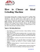 How to choose an ideal grinding machine