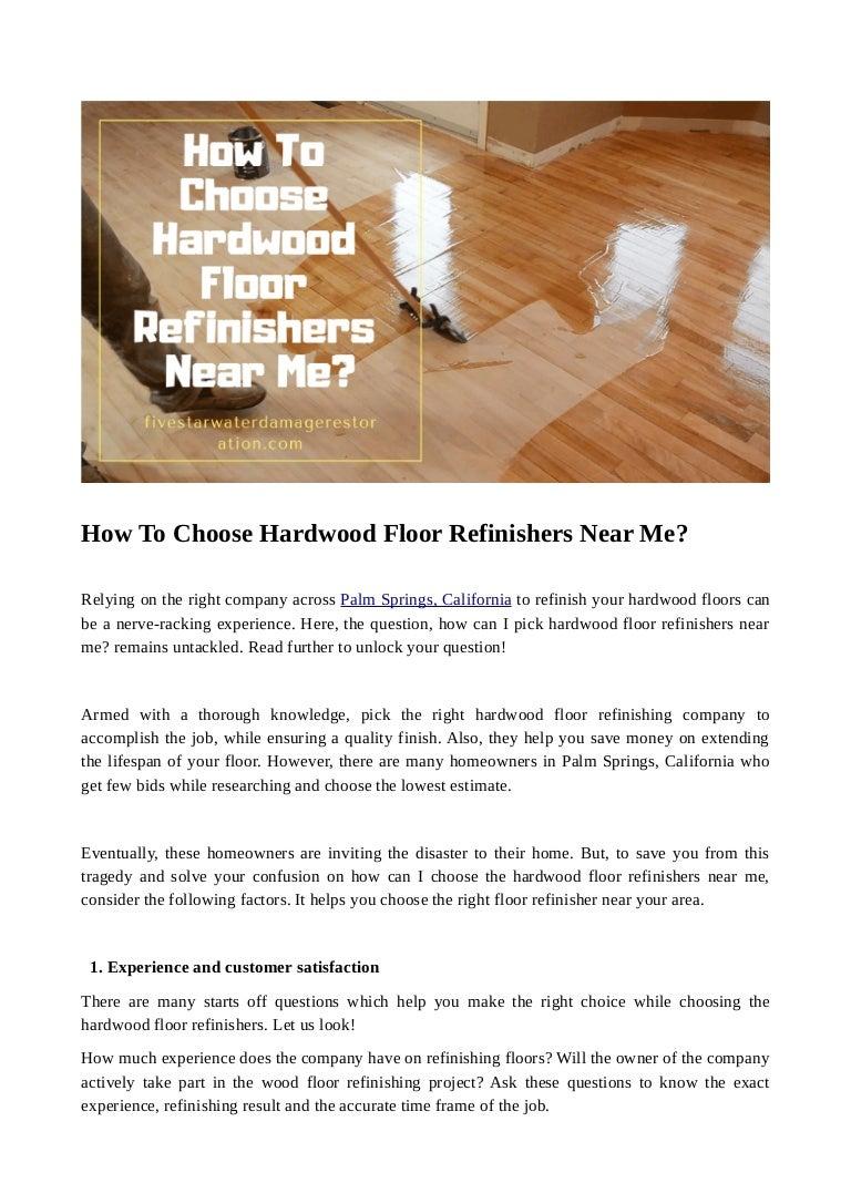 How To Choose Hardwood Floor Refinishers Near Me