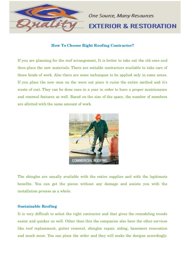 How To Choose Right Roofing Contractor