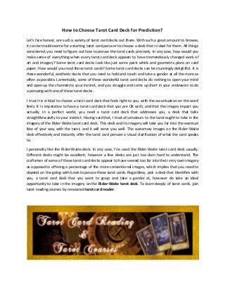 Learn about Tarot Decks in Tarot Reading Courses