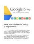 How to Collaborate using Google Drive