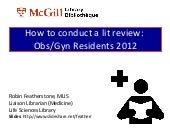 How to Conduct a Literature Review - Obs/Gyn Residents