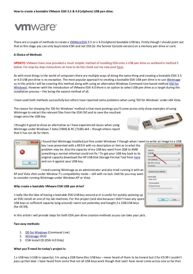 How to create a bootable v mware esxi 3