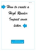 How to create a High Reader Impact cover letter
