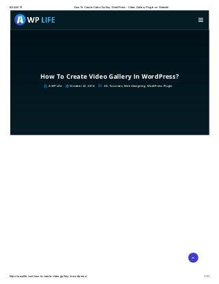 How to create video gallery word press video gallery plugin on website