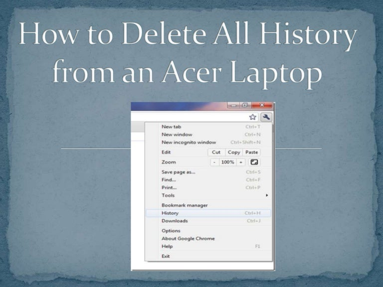 how to clear history on acer computer