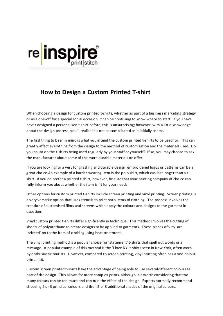 How To Design A Custom Printed T Shirt