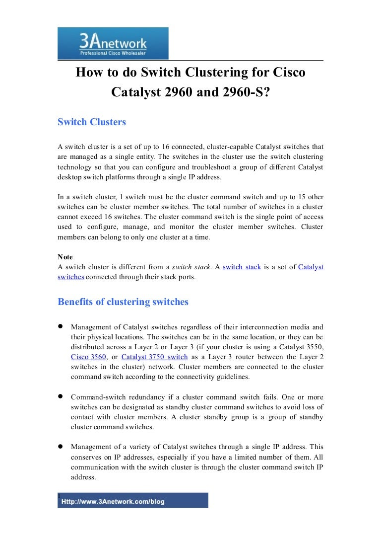 How To Do Switch Clustering For Cisco Catalyst 2960 And S1 Necessary Should Be Connected Series