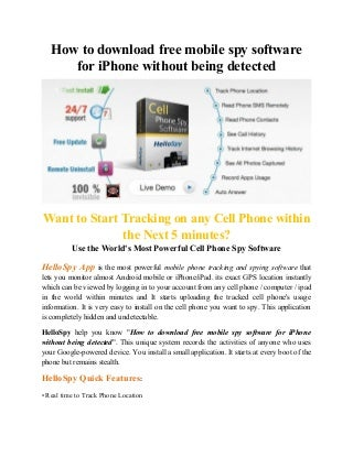 How to download free mobile spy software for i phone without being detected