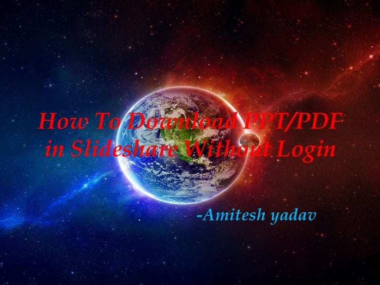 how to download ppt  pdf in slideshare without login
