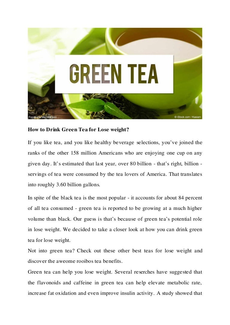 how to drink green tea for lose weight?