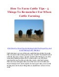 How To Farm Cattle Tips - 5 Things To Remember For When Cattle Farming