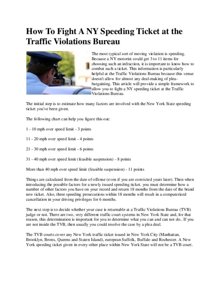 How To Fight A Speeding Ticket >> How To Fight A Ny Speeding Ticket At The Traffic Violations Bureau