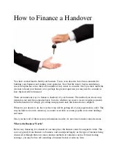 How to Finance a Handover