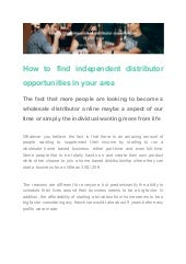 How to find independent distributor opportunities in your area