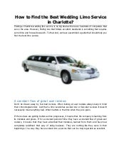 How to find the best wedding limo service in charlotte