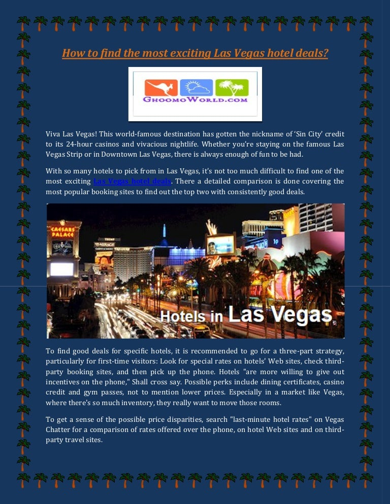 How To Find The Most Exciting Las Vegas Hotel Deals