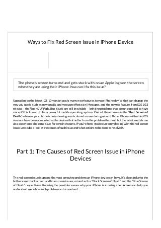How to fix iPhone Red Screen Issue