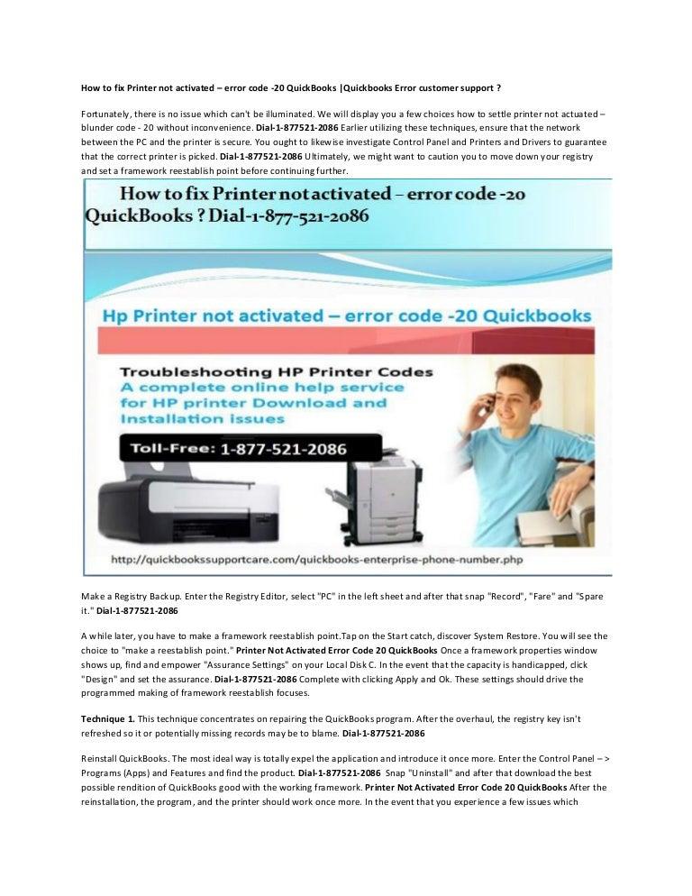How to fix printer not activated – error code 20 quickbooks
