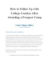 How to follow up with college coaches after attending a prospect camp expocarfo Image collections