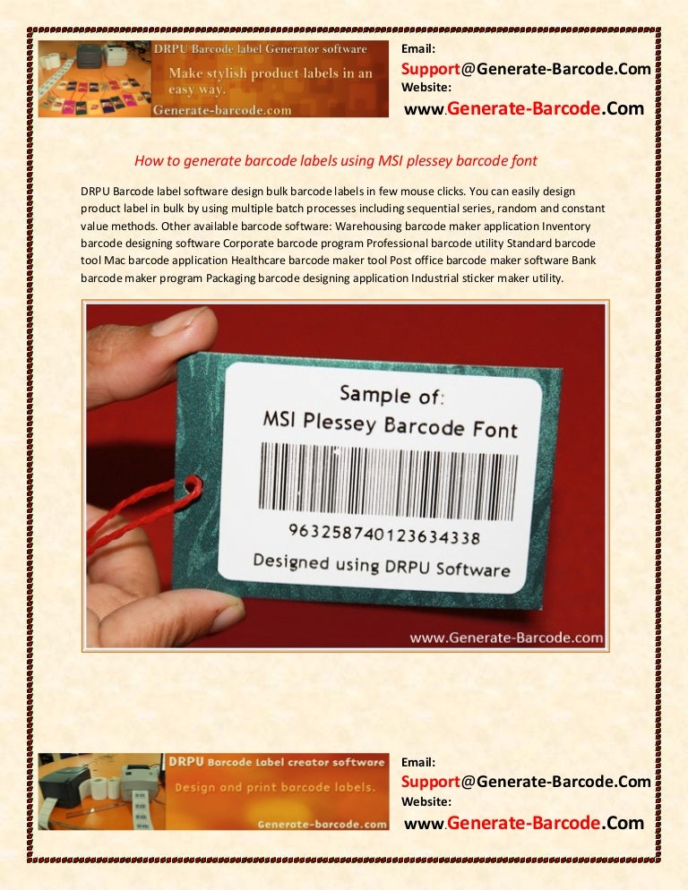 How to generate barcode labels using msi plessey barcode font