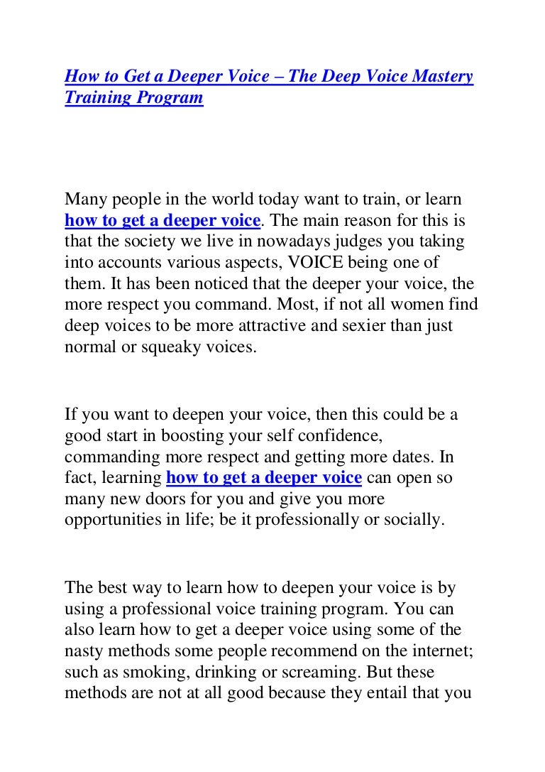 Deepen Your Voice Instantly To How