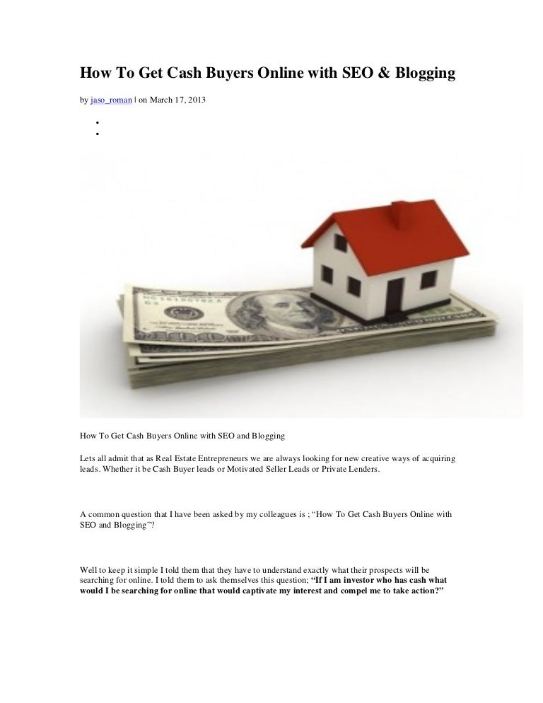 How to get cash buyers online with seo notes