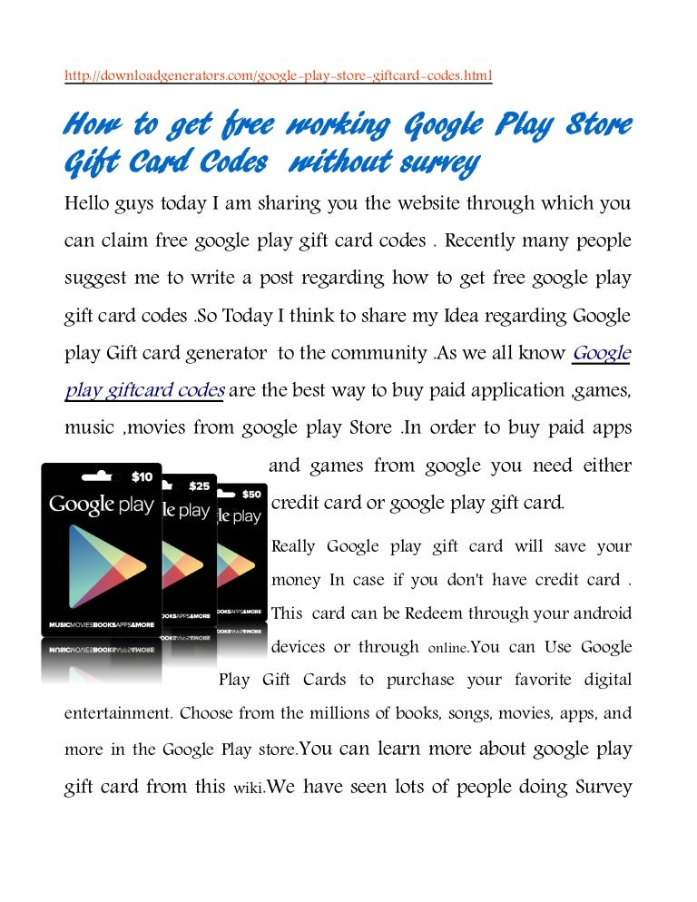 Free Google play gift Card t