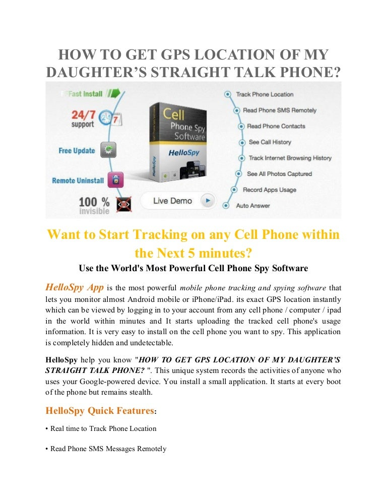 How to get gps location of my daughter's straight talk phone