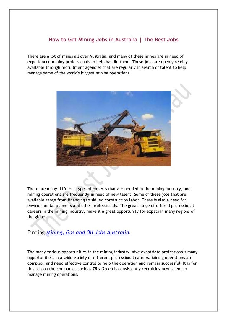 How to get mining jobs in australia