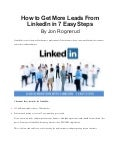 How to get more leads from linked in in 7 easy steps - jon rognerud