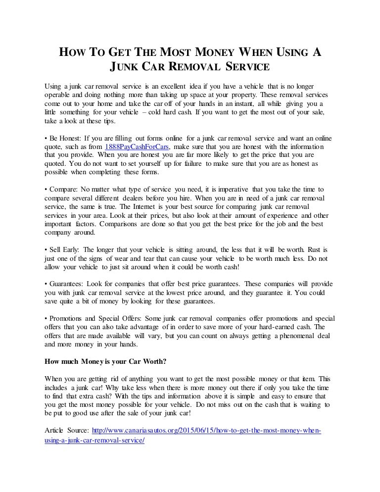 How To Get The Most Money When Using A Junk Car Removal Service