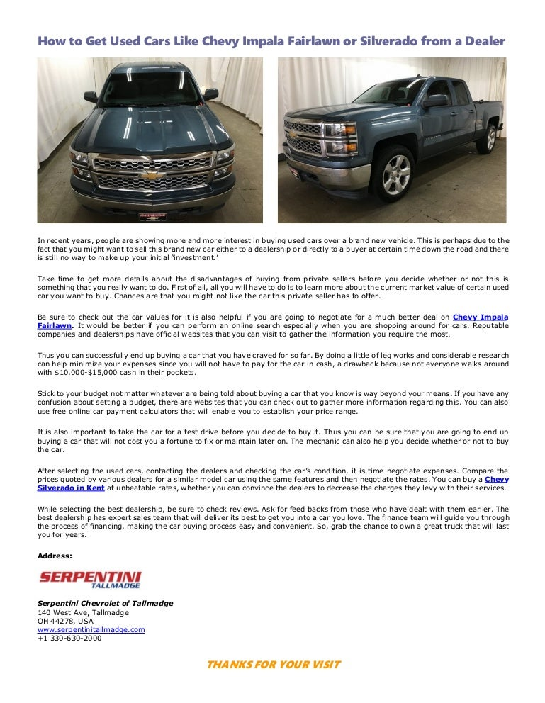 How to Get Used Cars Like Chevy Impala Fairlawn or Silverado from a D…