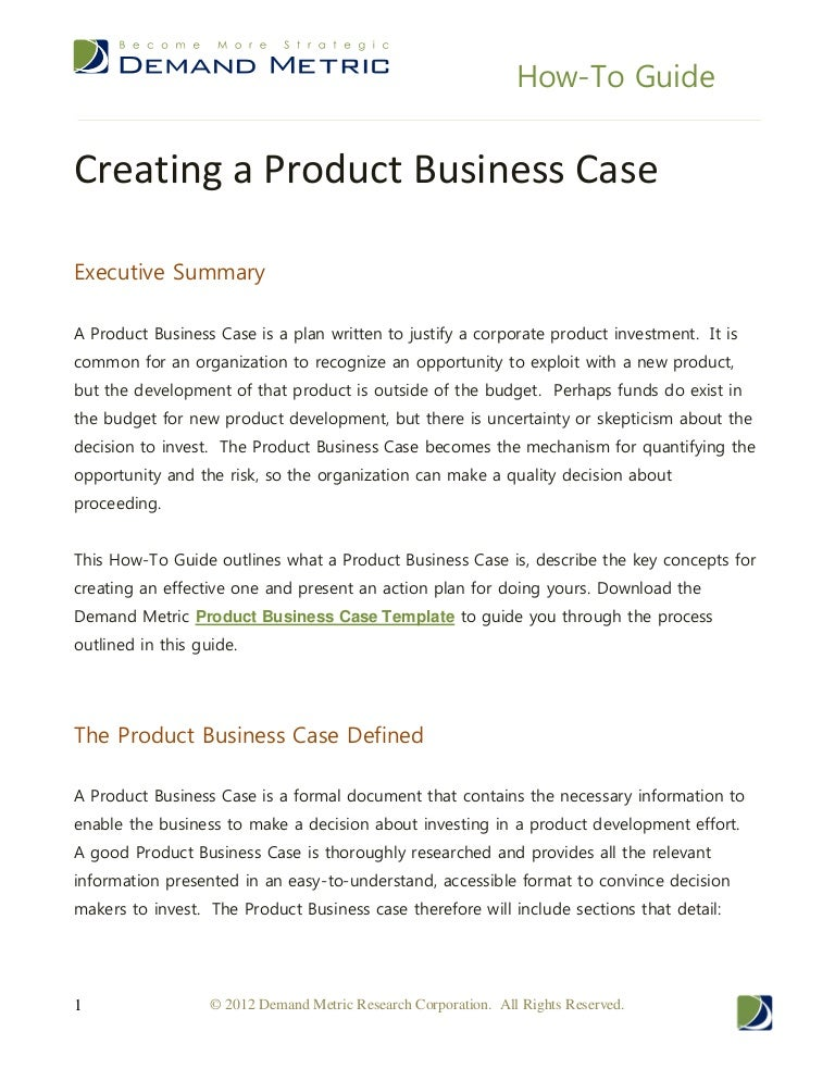How to guide creating a product business case friedricerecipe Images