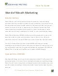 Word of Mouth Marketing How-To Guide