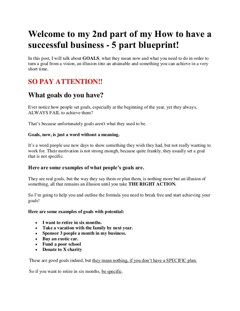 How to have a successful business part 2 of 5 part blueprint malvernweather Image collections
